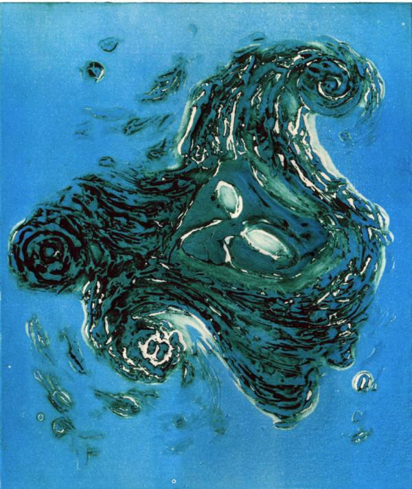 """""""La maschera e il mare""""         Tecnica: collografia"""